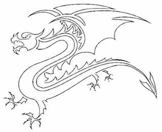Dragon Pattern Outline